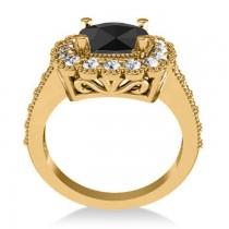 Black Diamond & Diamond Cushion Halo Engagement Ring 14k Yellow Gold (2.82ct)
