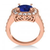 Blue Sapphire & Diamond Cushion Halo Engagement Ring 14k Rose Gold (3.50ct)
