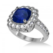Blue Sapphire & Diamond Cushion Halo Engagement Ring 14k White Gold (3.50ct)