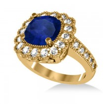 Blue Sapphire & Diamond Cushion Halo Engagement Ring 14k Yellow Gold (3.50ct)