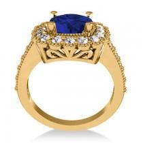 Blue Sapphire & Diamond Cushion Halo Engagement Ring 14k Yellow Gold (3.50ct)