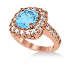 Blue Topaz & Diamond Cushion Halo Engagement Ring 14k Rose Gold (3.58ct)