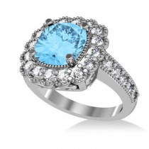 Blue Topaz & Diamond Cushion Halo Engagement Ring 14k White Gold (3.58ct)