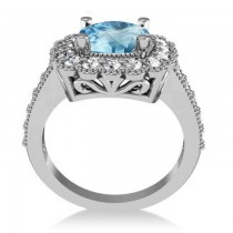 Blue Topaz & Diamond Cushion Halo Engagement Ring 14k White Gold (3.58ct)