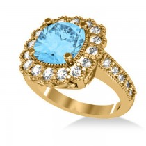 Blue Topaz & Diamond Cushion Halo Engagement Ring 14k Yellow Gold (3.58ct)