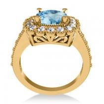 Blue Topaz & Diamond Cushion Halo Engagement Ring 14k Yellow Gold (3.58ct)