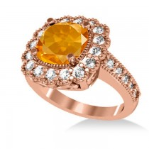 Citrine & Diamond Cushion Halo Engagement Ring 14k Rose Gold (2.73ct)