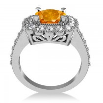 Citrine & Diamond Cushion Halo Engagement Ring 14k White Gold (2.73ct)