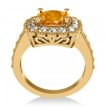 Citrine & Diamond Cushion Halo Engagement Ring 14k Yellow Gold (2.73ct)