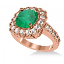 Emerald & Diamond Cushion Halo Engagement Ring 14k Rose Gold (2.60ct)