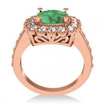 Emerald & Diamond Cushion Halo Engagement Ring 14k Rose Gold (2.60ct)