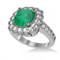 Emerald & Diamond Cushion Halo Engagement Ring 14k White Gold (2.60ct)