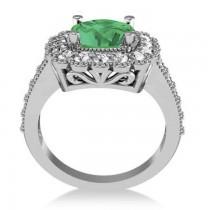 Emerald & Diamond Cushion Halo Engagement Ring 14k White Gold (2.60ct)