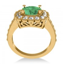 Emerald & Diamond Cushion Halo Engagement Ring 14k Yellow Gold (2.60ct)