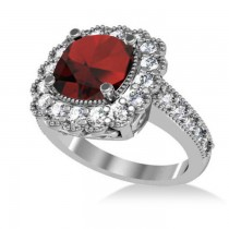 Garnet & Diamond Cushion Halo Engagement Ring 14k White Gold (3.53ct)