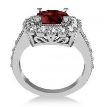Garnet & Diamond Cushion Halo Engagement Ring 14k White Gold (3.53ct)