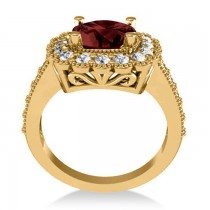 Garnet & Diamond Cushion Halo Engagement Ring 14k Yellow Gold (3.53ct)