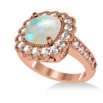 Opal & Diamond Cushion Halo Engagement Ring 14k Rose Gold (2.82ct)