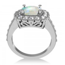 Opal & Diamond Cushion Halo Engagement Ring 14k White Gold (2.82ct)