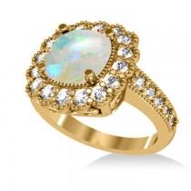 Opal & Diamond Cushion Halo Engagement Ring 14k Yellow Gold (2.82ct)