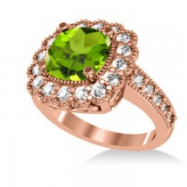 Peridot & Diamond Cushion Halo Engagement Ring 14k Rose Gold (3.18ct)