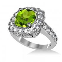 Peridot & Diamond Cushion Halo Engagement Ring 14k White Gold (3.18ct)
