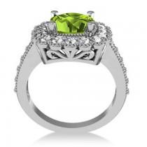 Peridot & Diamond Cushion Halo Engagement Ring 14k White Gold (3.18ct)