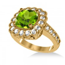 Peridot & Diamond Cushion Halo Engagement Ring 14k Yellow Gold (3.18ct)
