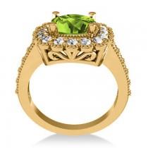Peridot & Diamond Cushion Halo Engagement Ring 14k Yellow Gold (3.18ct)