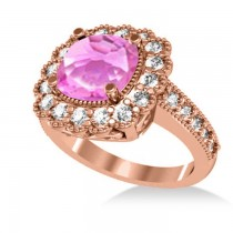 Pink Sapphire & Diamond Cushion Halo Engagement Ring 14k Rose Gold (3.50ct)