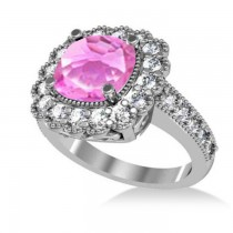 Pink Sapphire & Diamond Cushion Halo Engagement Ring 14k White Gold (3.50ct)