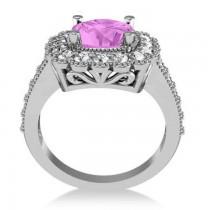 Pink Sapphire & Diamond Cushion Halo Engagement Ring 14k White Gold (3.50ct)