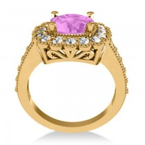 Pink Sapphire & Diamond Cushion Halo Engagement Ring 14k Yellow Gold (3.50ct)