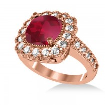 Ruby & Diamond Cushion Halo Engagement Ring 14k Rose Gold (3.50ct)