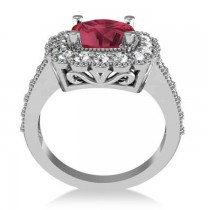 Ruby & Diamond Cushion Halo Engagement Ring 14k White Gold (3.50ct)