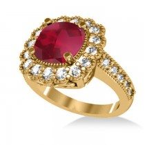Ruby & Diamond Cushion Halo Engagement Ring 14k Yellow Gold (3.50ct)