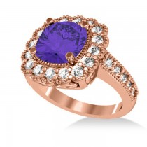 Tanzanite & Diamond Cushion Halo Engagement Ring 14k Rose Gold (3.21ct)