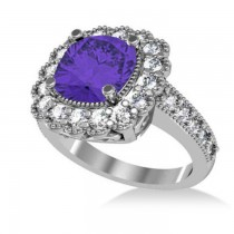 Tanzanite & Diamond Cushion Halo Engagement Ring 14k White Gold (3.21ct)
