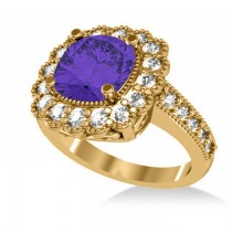 Tanzanite & Diamond Cushion Halo Engagement Ring 14k Yellow Gold (3.21ct)