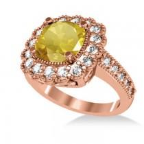 Yellow Sapphire & Diamond Cushion Halo Engagement Ring 14k Rose Gold (3.50ct)