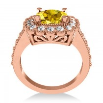 Yellow Sapphire & Diamond Cushion Halo Engagement Ring 14k Rose Gold (3.50ct)