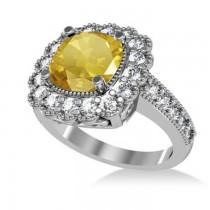 Yellow Sapphire & Diamond Cushion Halo Engagement Ring 14k White Gold (3.50ct)