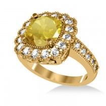 Yellow Sapphire & Diamond Cushion Halo Engagement Ring 14k Yellow Gold (3.50ct)
