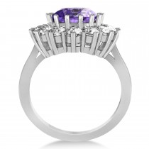 Oval Amethyst & Diamond Accented Ring in 14k White Gold (5.40ctw)