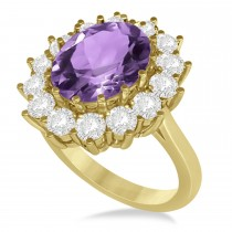 Oval Amethyst & Diamond Accented Ring in 14k Yellow Gold (5.40ctw)