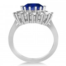Oval Blue Sapphire & Diamond Accented Ring 14k White Gold (5.40ctw)|escape