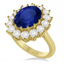 Oval Blue Sapphire & Diamond Accented Ring 14k Yellow Gold (5.40ctw)