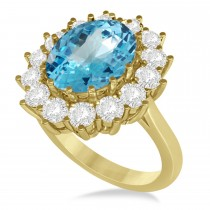 Oval Blue Topaz & Diamond Accented Ring in 14k Yellow Gold (5.40ctw)