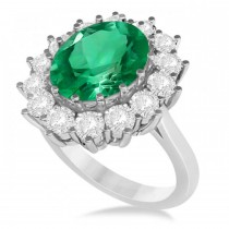Oval Emerald and Diamond Ring 14k White Gold (5.40ctw)