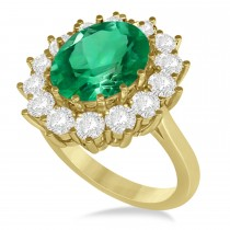 Oval Emerald and Diamond Ring 14k Yellow Gold (5.40ctw)